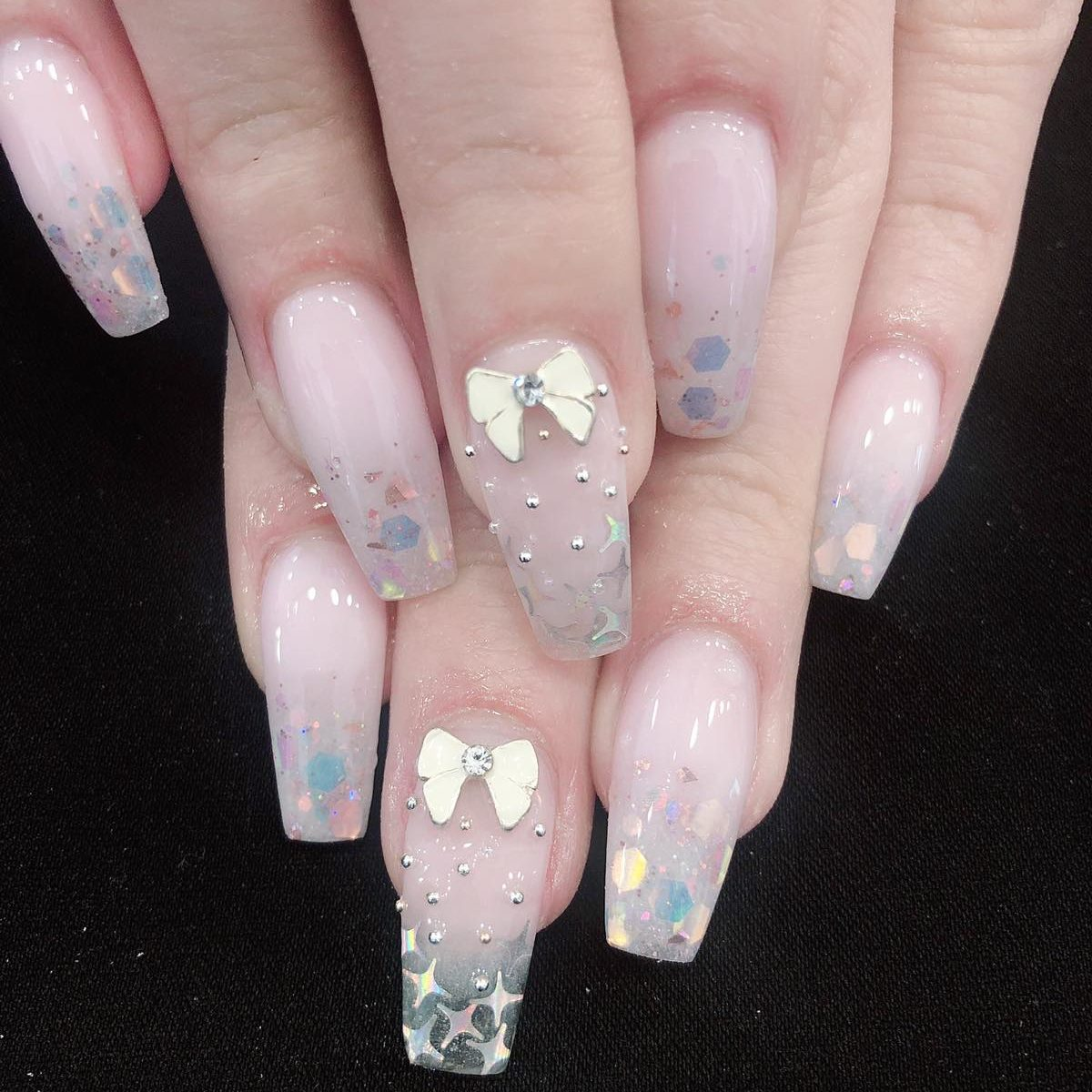 3D nail designs on coffin shape nail extensions