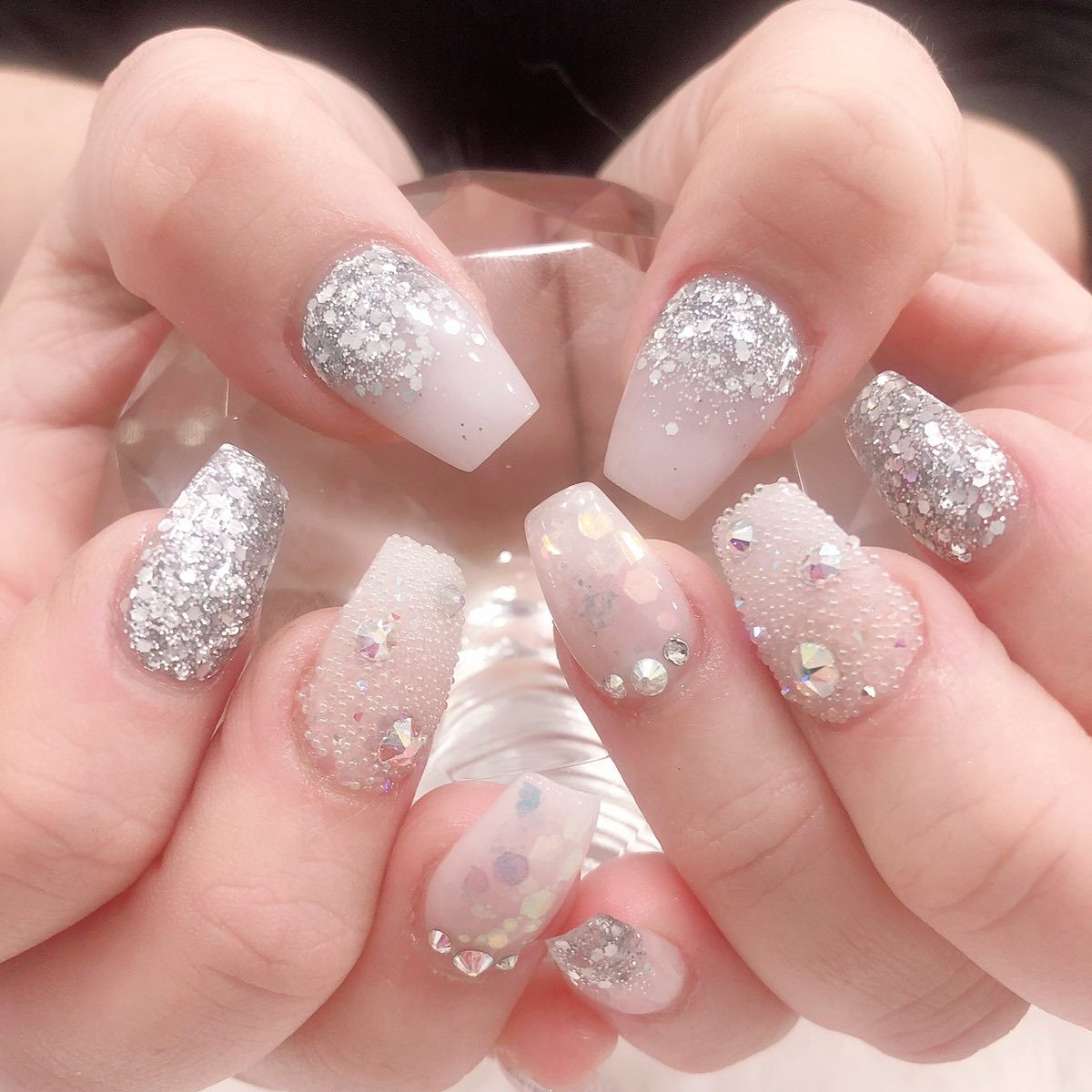 ombre nail extensions with glitters