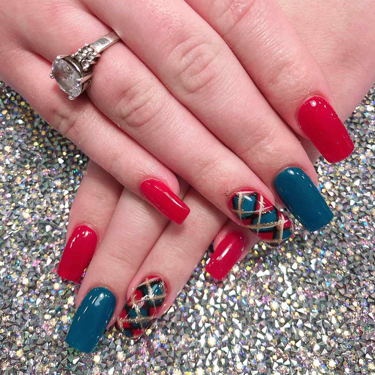 red square acrylic nailwith designs