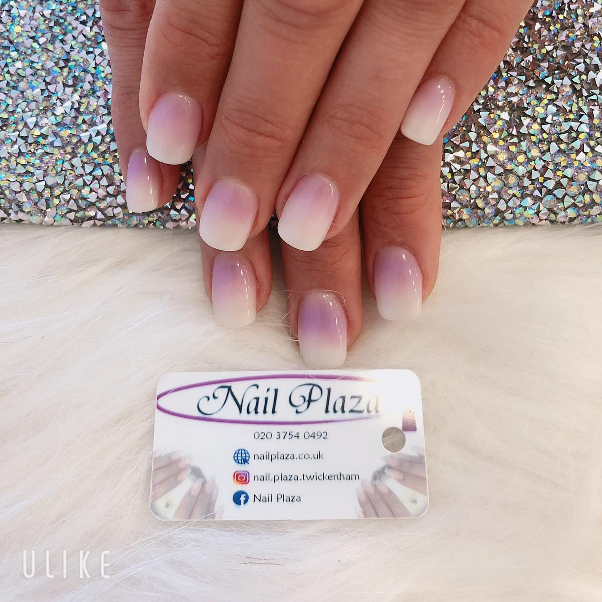square shape acrylic nail extensions with ombre effect